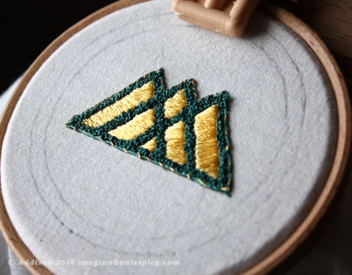Hand embroidery of Warlock insignia from Bungie's Destiny